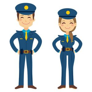 40977369 - cute police man and woman agents working in uniform standing happy