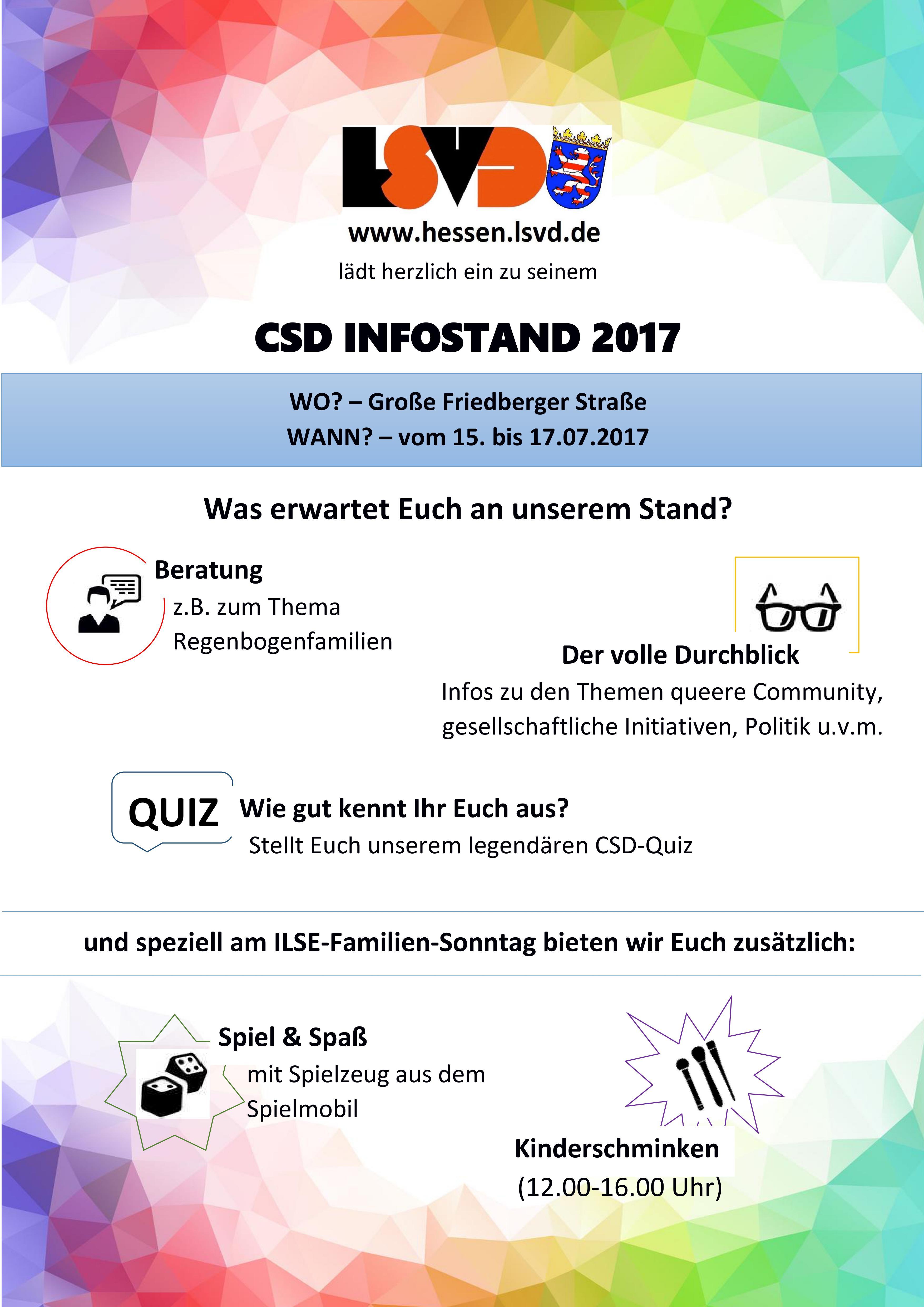 LSVD HEssen CSD Frankfurt 2017 Plakat Infostand